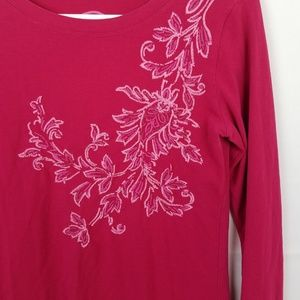Life is Good Tops - Life is Good Pink Embroidered T Shirt Size S